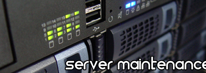 Rack mounted Network Equipment - Text: Server Maintenance